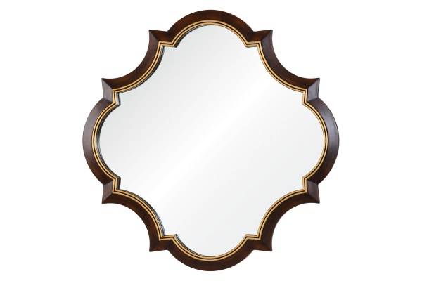 Зеркало Krystal А88015-1 коричневое с золотой рамкой купить в салоне-студии мебели Барселона mnogospalen.ru много спален мебель Италии классические современные
